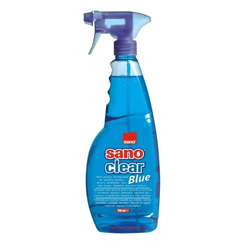 Solutie geamuri Sano Clear blue, cu pulverizator, 750 ml