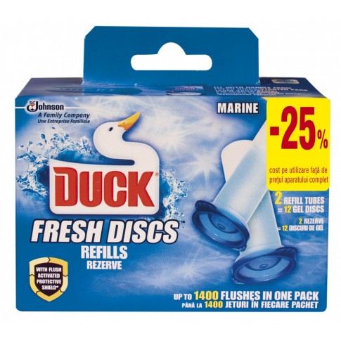 Odorizant wc baie Duck Fresh Discs, marin, 2 x 36 ml