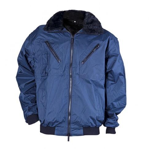 Haina de iarna Gantex ES32 Zembla, poliester, impermeabila, negru + bleumarin, guler din blana, marimea XXL