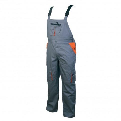 Pantaloni salopeta pentru protectie, bumbac + poliester, gri + portocaliu, marimea 46