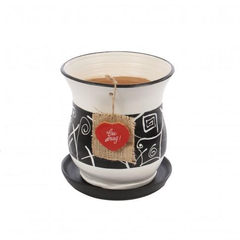 Ghiveci ceramic Lena cu aplicatie, diverse culori, rotund, 17 x 19 cm