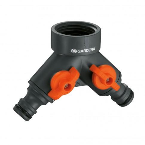Conector robinet Gardena 00940-20, filet interior 33.3 mm, 2 ramificatii cu robinet, plastic