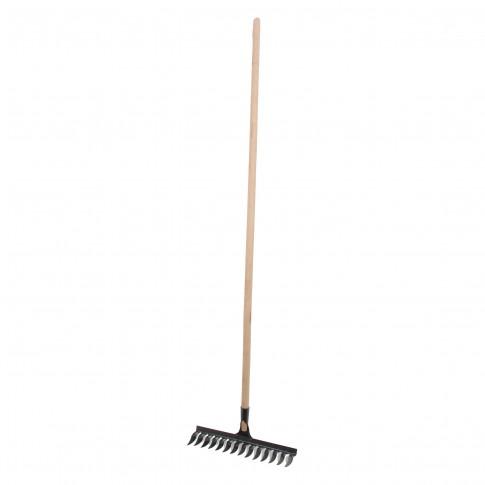 Grebla cu dinti rasuciti, pentru sol, Lumytools LT35871, otel, cu coada din lemn, 14 dinti, 145 cm