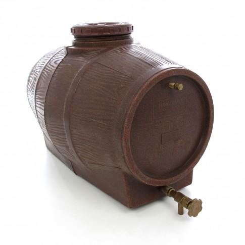 Butoi plastic alimentar, pentru vin Mantzaris, cu capac, 50 litri, maro D 40 cm + canea si aerisitor