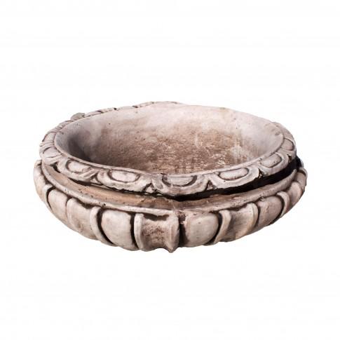 Ghiveci din beton Vaza 0449, alb, rotund, pentru exterior, 48 x 24 cm