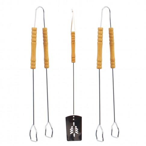 Set 3 accesorii pentru gratar Landmann, metal, maner lemn, 50 cm