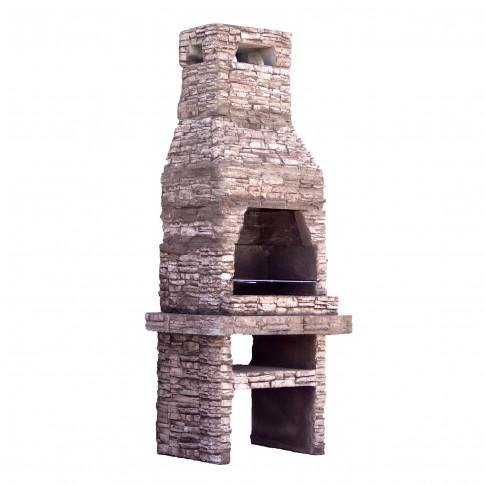 Gratar gradina, cu carbuni, Rustic, fix, din beton, 75 x 95 x 240 cm