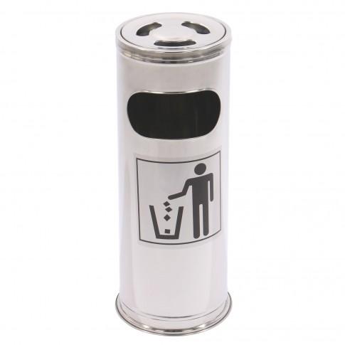 Cos gunoi Perfect Home 72073 D 22 cm din inox, forma cilindrica, cromat, cu scrumiera, 21L