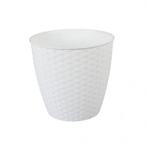 Ghiveci din plastic cu finisaj ratan sintetic Rattan, alb D 14 cm