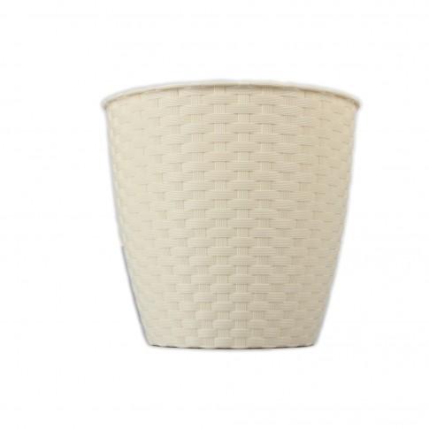 Ghiveci din plastic cu finisaj ratan sintetic Rattan, crem D 14 cm