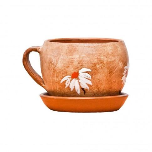Ghiveci ceramic Cana, rotund, 13 x 10 cm