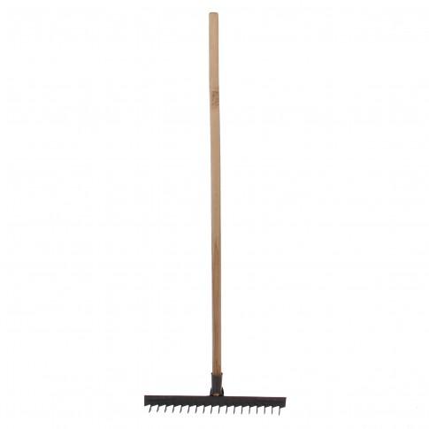 Grebla cu dinti rasuciti, pentru sol, otel, coada din lemn, 18 dinti, 135 cm