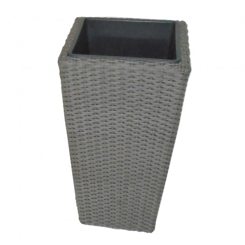 Ghiveci din metal + plastic cu finisaj ratan sintetic PLTP-1390, patrat, gri 30 x 30 x 55 cm