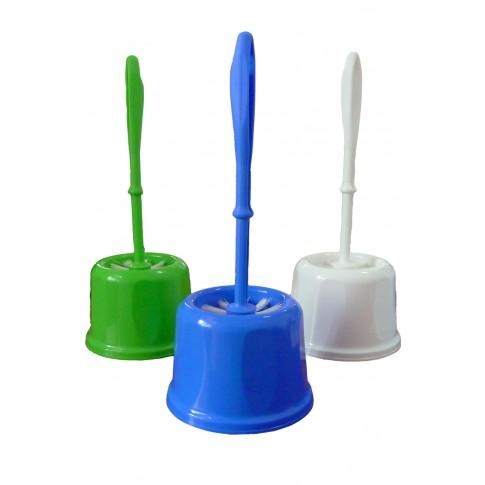 Perie WC  Ela SZ-147, plastic, alb / verde / albastru