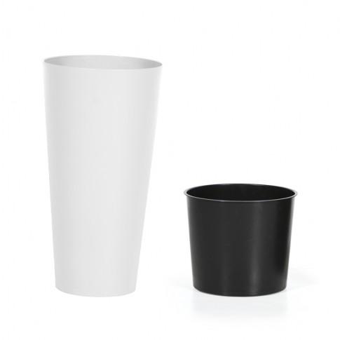 Ghiveci din plastic Tubus Slim, alb D 20 cm