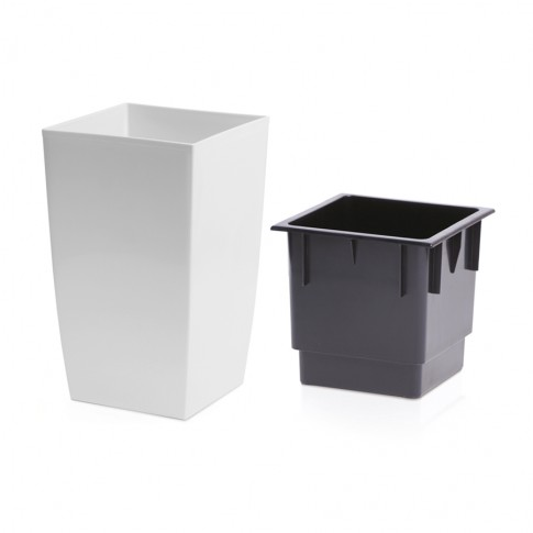 Ghiveci din plastic Coubi, patrat, alb 24 x 24 x 42.5 cm