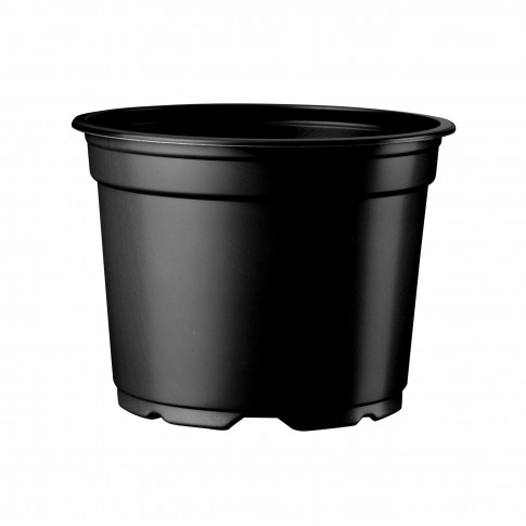 Ghiveci rasad, plastic, negru, D 9 cm