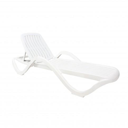 Sezlong plaja Premium 2847 structura plastic alb 191 x 70.5 x 40 cm