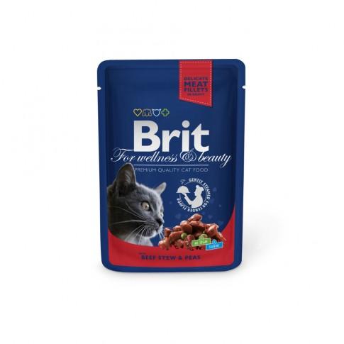 Hrana umeda pentru pisici, Brit, adult, carne de vita, 100g