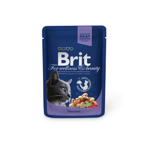 Hrana umeda pentru pisici, Brit, adult, cod, 100g