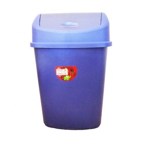 Cos gunoi Plastina Lotus din plastic, forma dreptunghiulara, albastru, cu capac batant, 35L