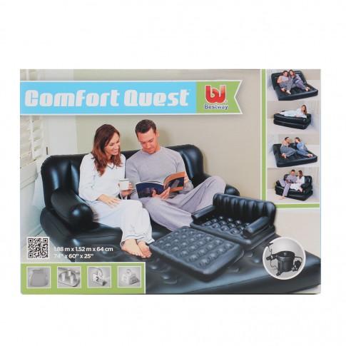 Saltea tip canapea gonflabila Bestway  5-in-1 75056, pentru camping, 2 persoane, 188 x 152 x 64 cm, cu pompa