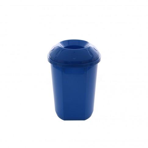 Cos gunoi pentru colectare selectiva Agora Plast din plastic ABS, forma cilindrica, albastru, cu capac, 40L