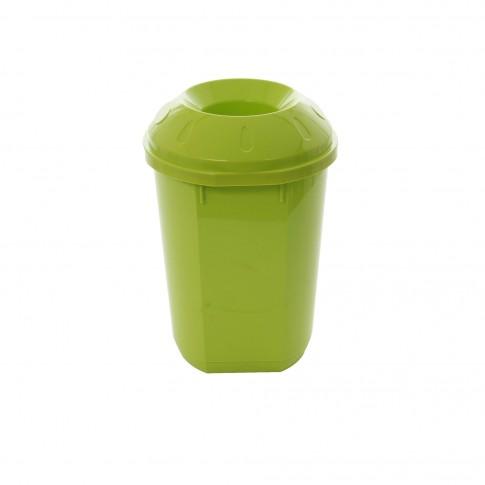 Cos gunoi pentru colectare selectiva Agora Plast din plastic ABS, forma cilindrica, verde, cu capac, 40L