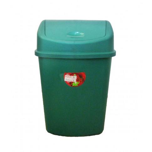 Cos gunoi Plastina Lotus din plastic, forma dreptunghiulara, verde, cu capac batant, 35L