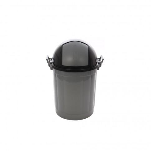 Cos gunoi Agora Plast Push din plastic, forma cilindrica, gri, cu capac batant, 50L