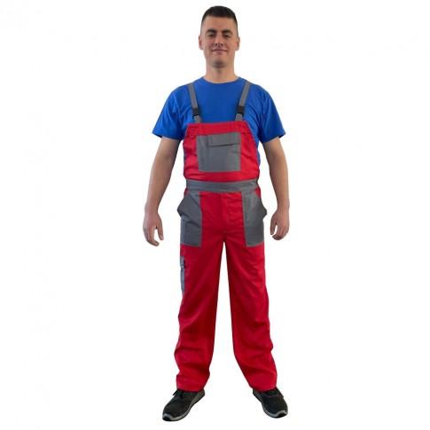 Pantaloni salopeta pentru protectie Asimo, bumbac + poliester, rosu, marimea 54