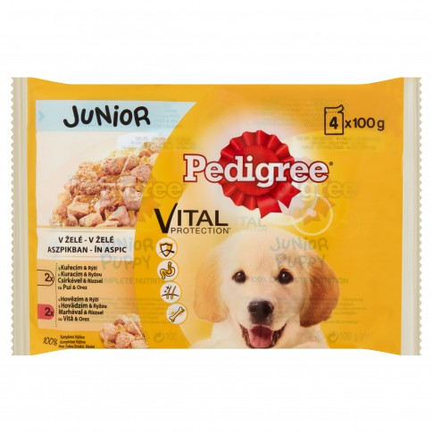 Hrana umeda pentru caini Pedigree Junior, carne de pui si vita, 4 x 100g