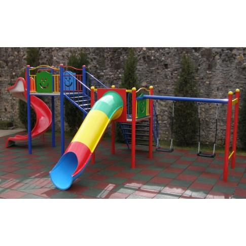 Tobogan copii, cu leagane si scara, structura metalica, 685 x 340 x 260 cm