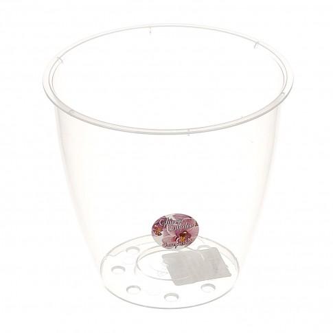 Ghiveci din plastic, pentru orhidee, transparent, D 16.3 cm