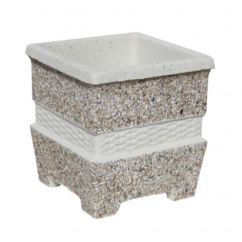Ghiveci din beton VG201, model cu impletituri, alb cu piatra natur, patrat, pentru exterior, 35 x 35 x 37 cm