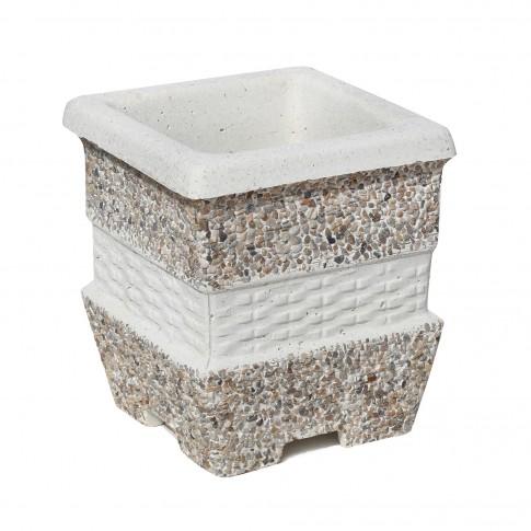 Ghiveci din beton VG202, model cu impletituri, alb cu piatra natur, patrat, pentru exterior, 26 x 26 x30 cm
