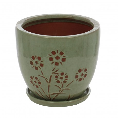Ghiveci ceramic 22376, rotund, 30 x 28 cm