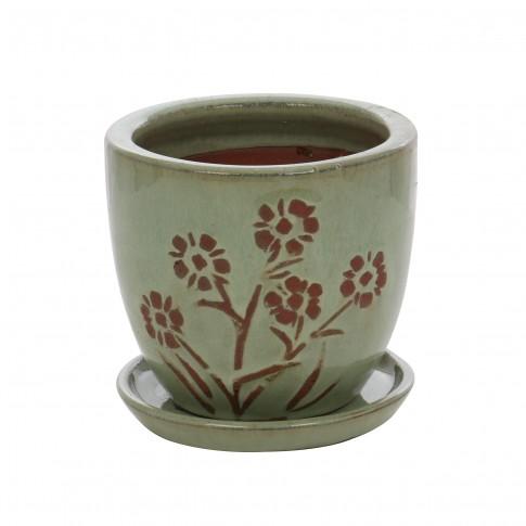 Ghiveci ceramic 22376, rotund, 14 x 13 cm