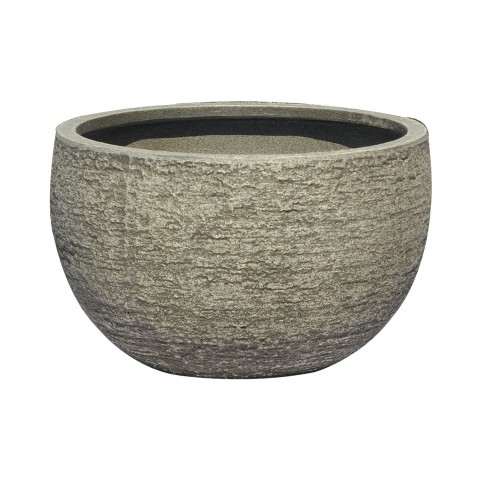Ghiveci din fibra piatra PL 123350-GSR, gri, rotund, 39 x 23 cm