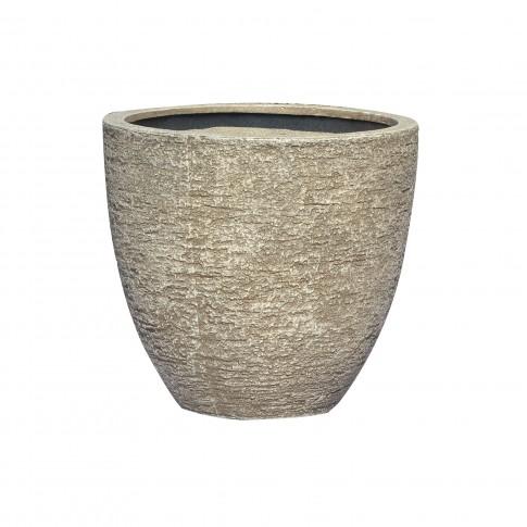 Ghiveci din fibra piatra PL 100350-MMS, gri, rotund, 32 x 29 cm