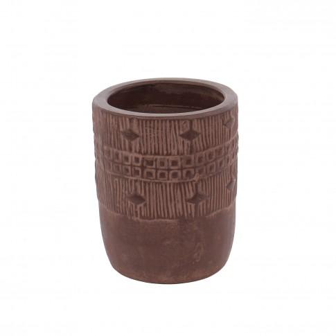 Ghiveci ceramic 350389, maro, rotund, 13 x 16 cm