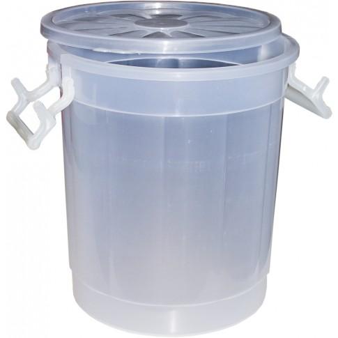 Butoi / cada plastic Agora Plast, cu capac, 30 litri, transparent D 36 cm