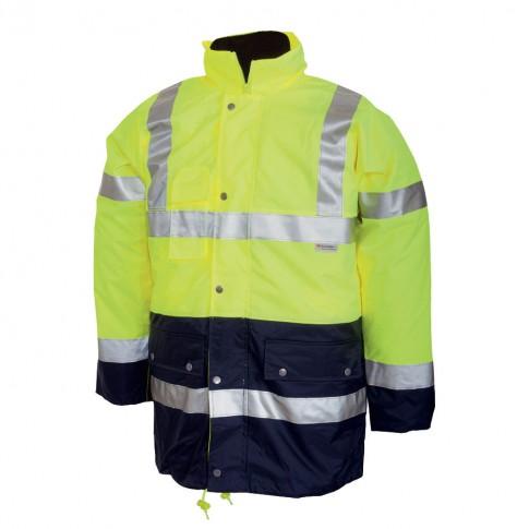 Jacheta de iarna Renania 3 in 1, scurta,  reflectorizanta, 100% PES Oxford + membrana PU, galben fluorescent + bleumarin, cu buzunare si gluga, marimea XXXL