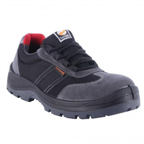 Pantofi de protectie Stenso Desman Pro, cu bombeu metalic, textil + piele velur, gri + negru, S1P, marimea 41