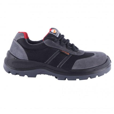 Pantofi de protectie Stenso Desman Pro, cu bombeu metalic, textil + piele velur, gri + negru, S1P, marimea 43