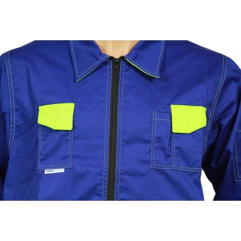 Jacheta de protectie Kora, bumbac + poliester, albastru + galben, marimea 50