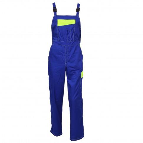 Pantaloni pieptar Kora, bumbac + poliester, albastru + galben, marimea 50