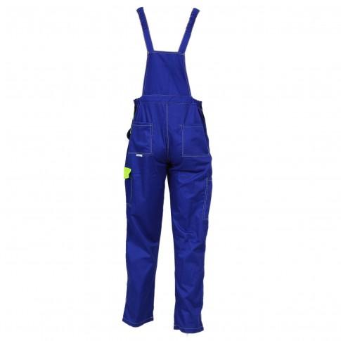 Pantaloni pieptar Kora, bumbac + poliester, albastru + galben, marimea 54