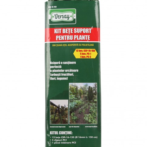 Kit bete suport pentru plante Versay NSA-16-150, otel plasticat, verde, 150 cm x 16 mm, set 12 buc + clipsuri