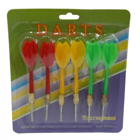 Set 6 sageti pentru Darts, plastic + metal, 15 x 17 x 2 cm